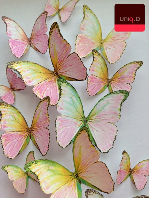pink WALL DECORATION 3D decorative butterflies wall by uniqdots