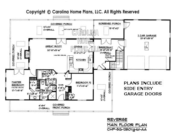 Sg 1280 garage basement reverse main floor plan house for Log home floor plans with garage and basement