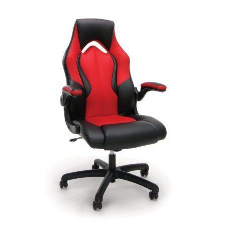 OFM Essentials Racecar-Style Leather Gaming Chair, Black and Gray