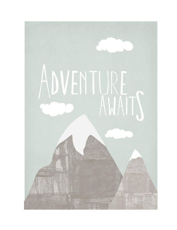 "13"" by 19"", Neutral Nursery Mountain Scene Illustration with Hand Lettering Adventure Awaits New Baby Art"