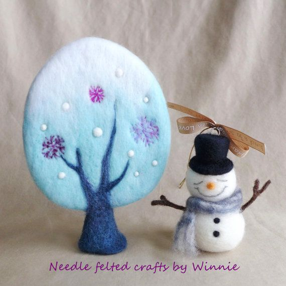 Needle felted handmade OOAK Winter tree blue by FunFeltByWinnie
