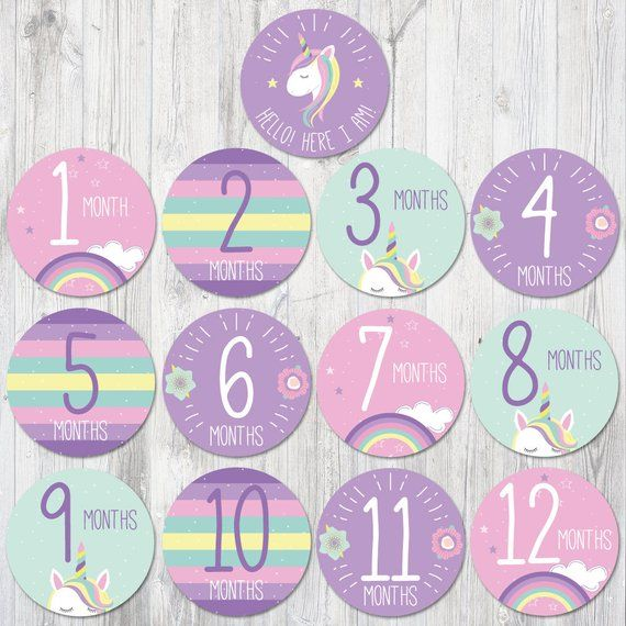 photograph regarding Baby Month Stickers Printable named Unicorn Kid Month to month Stickers Printable, Unicorn Boy or girl Shower