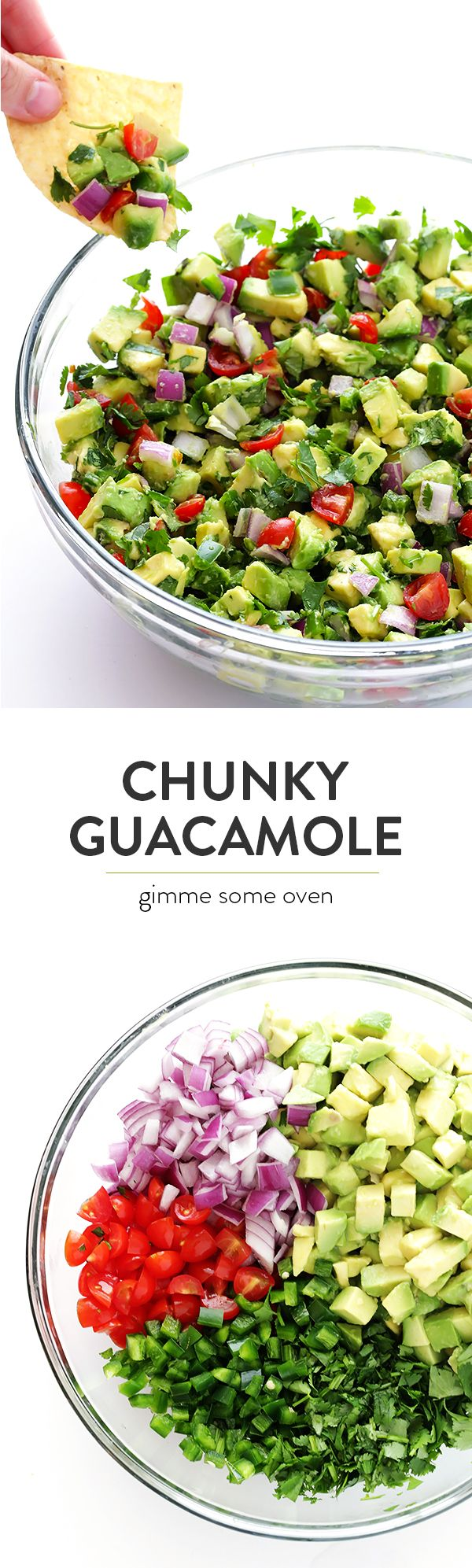 This Chunky Guacamole dip recipe is easy to make, and always a crowd pleaser! | http://gimmesomeoven.com