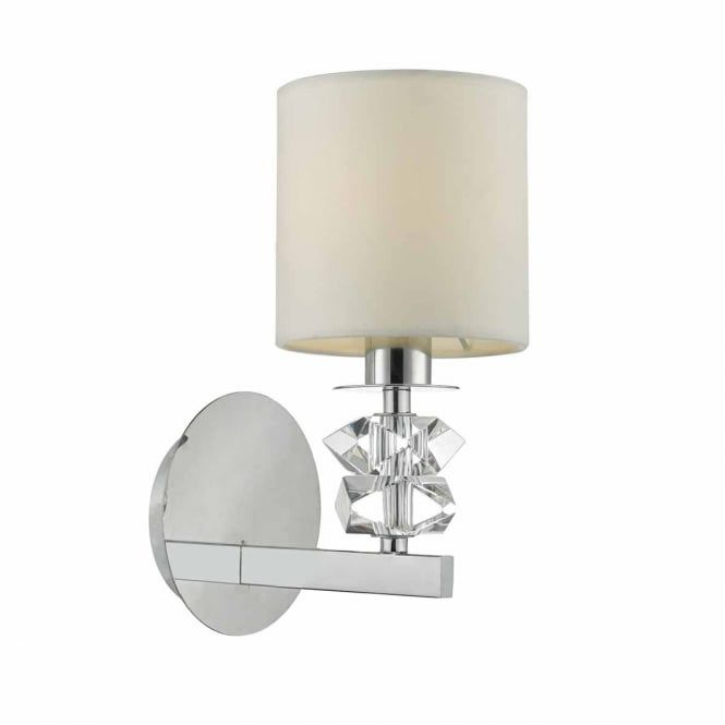 A single polished chrome and clear glass wall light complete with cream cotton shade. This would be great for lighting in a modern lounge, bedroom or dining room. This light is double insulated for safe use without need of an earth wire. This light is individually switched by a pull cord.