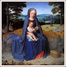 Little baby jesus spending needed time with his caring mother .