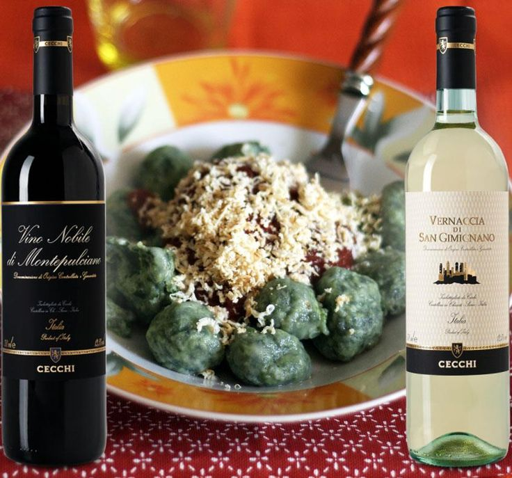 Which wine, Vernaccia di San Gimignano or Nobile di Montepulciano?  Paired with gnudi, a typical dish of ricotta and spinach from Juls' Kitchen.