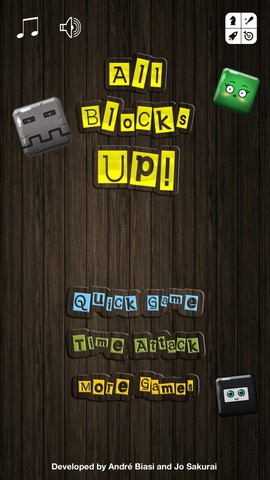 All Blocks Up! for iPhone, iPad, iPod Touch and Android devices. Stack funny animated blocks and build the tallest tower you can. Each block has it's own appearance and personality!