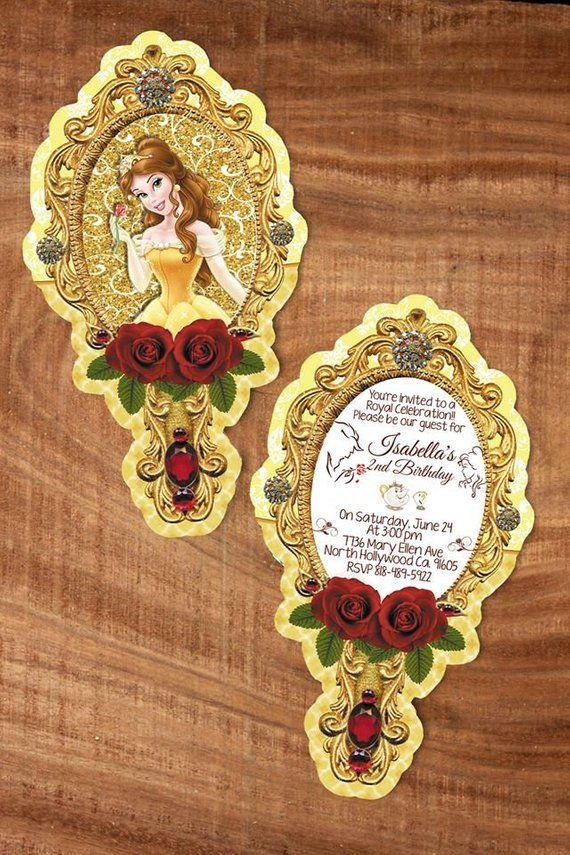 20 personalized beauty and the beast mirror invitation ...
