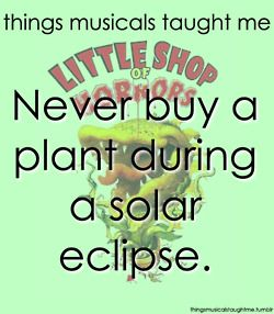 things musicals taught me. Little Shop of Horrors.