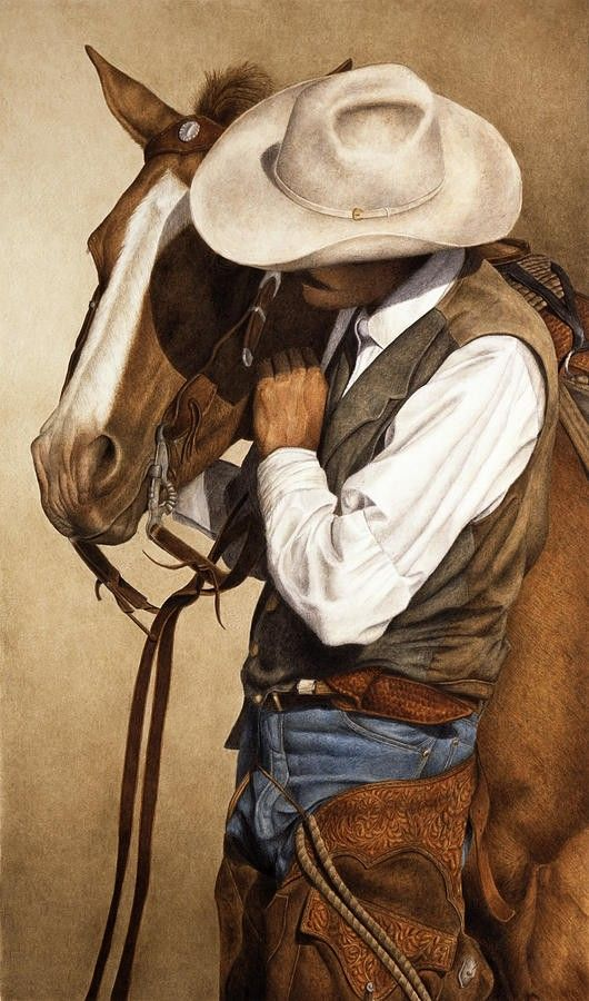 Cowboy and Horse - art by Pat Erickson (watercolor and Prismacolor pencils) *|* (western, wild wild west)