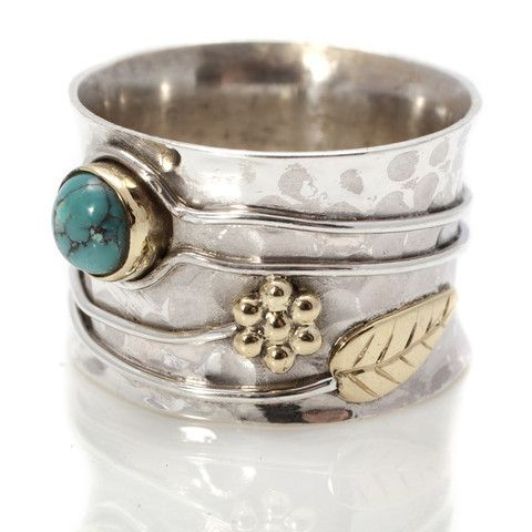 Turquoise and Silver Flower Ring by Charlotte's Web   Charlotte's Web