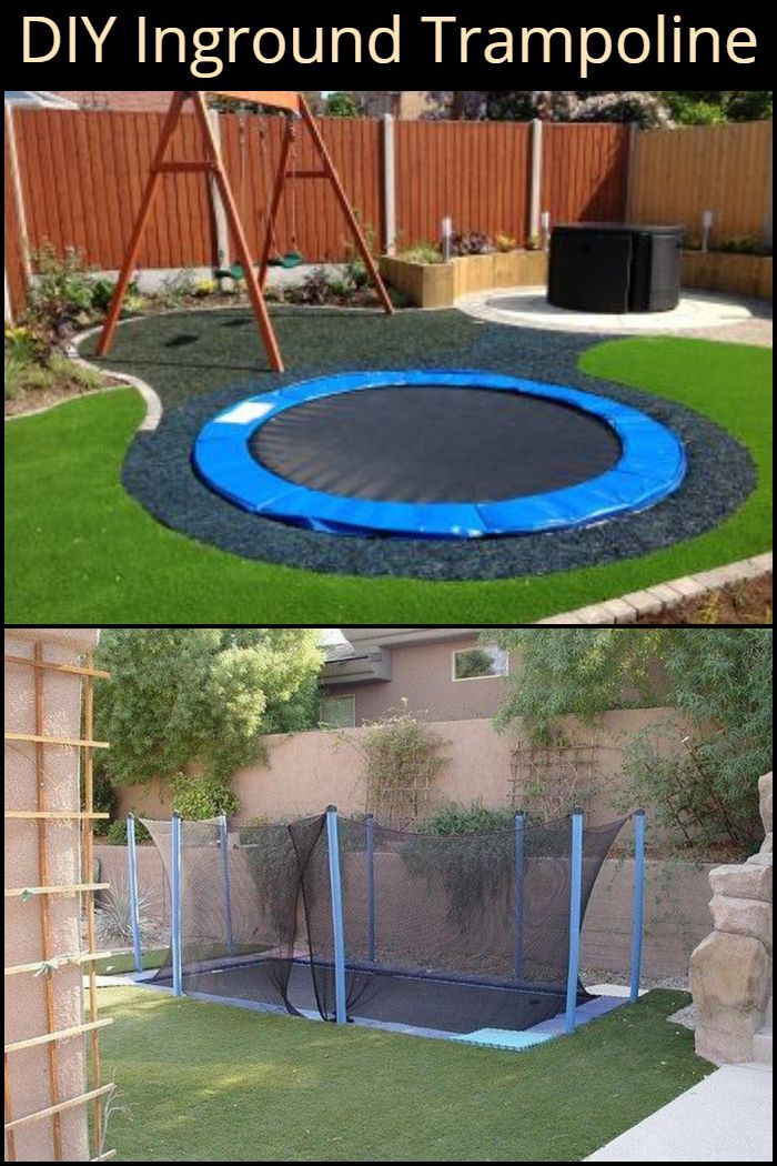Diy Inground Trampoline Backyard Sunken Trampoline Backyard Fun