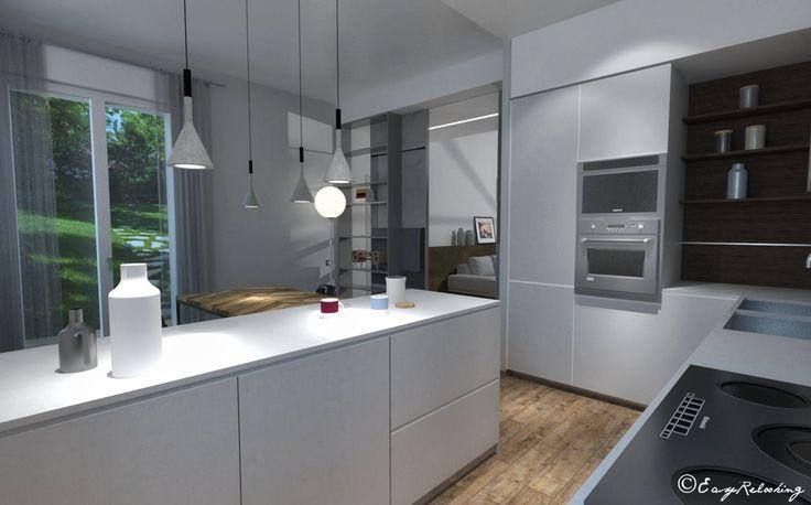 Cucina e soggiorno stile industrial contemporaneo – contempory industril-style kitchen and living