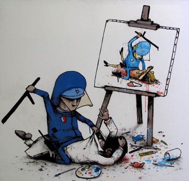 Based in Toulouse, Dran is a multi-talented artist who uses a variety of media such as installations, paintings and drawings to convey his ironic viewpoint. After developing his skills as part of Toulouse's renowned graffiti scene. He is also a fan of the absurd and has published a number of books featuring his funny sketches parodying everyday events with great doses of surrealism.