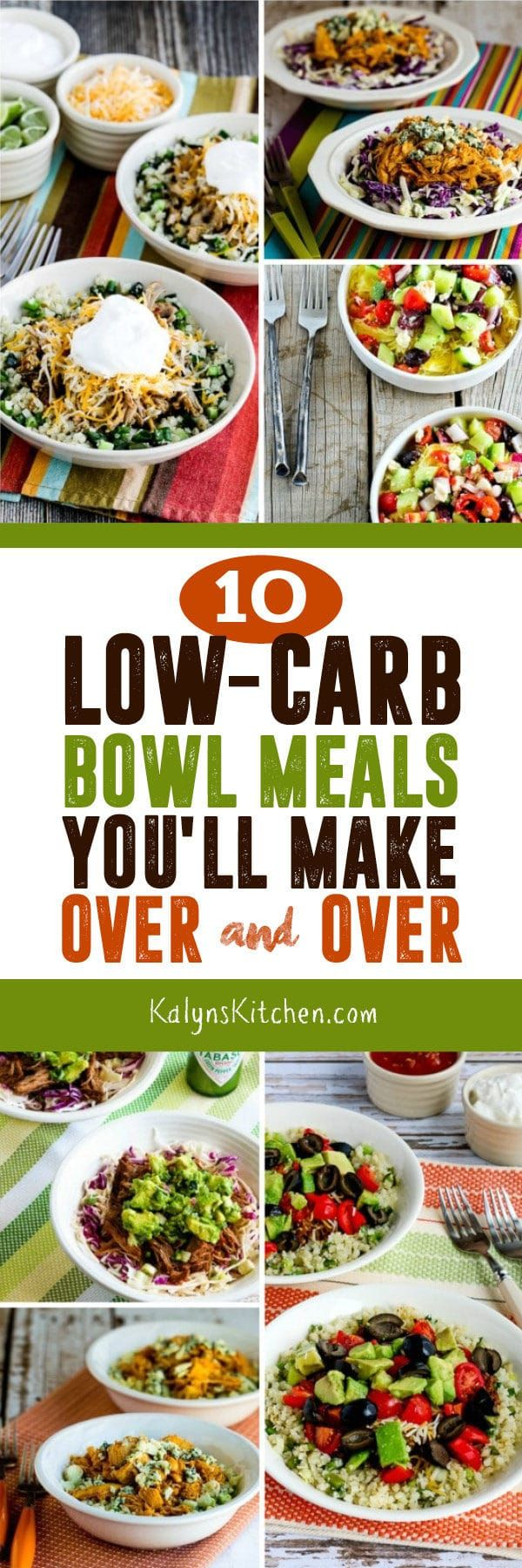 Check out this Recipe round-Up of 10 Low-Carb Bowl Meals You'll Make Over and Over! All these are favorite low-carb dinner ideas that I make often; hope you enjoy! [featured on KalynsKitchen.com] #LowCarbDinner #LowCarbBowlMeal #LowCarbRecipes #LowCarbBowlMealRecipes