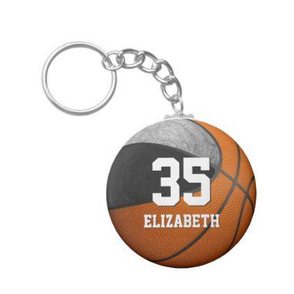 schwarzes graues Schulteam färbt Mädchenbasketball Standard Runder Schlüsselanhänger | Zazzle  – premium gifts
