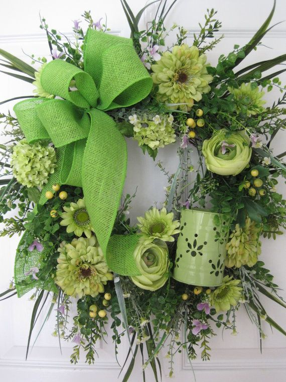 SPRING Green Wreath Mothers Day Wreath Bridal Wreath by FunFlorals