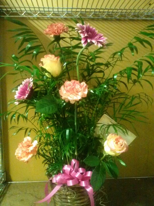 Sympathy plant with fresh flowers (funeral arrangement)
