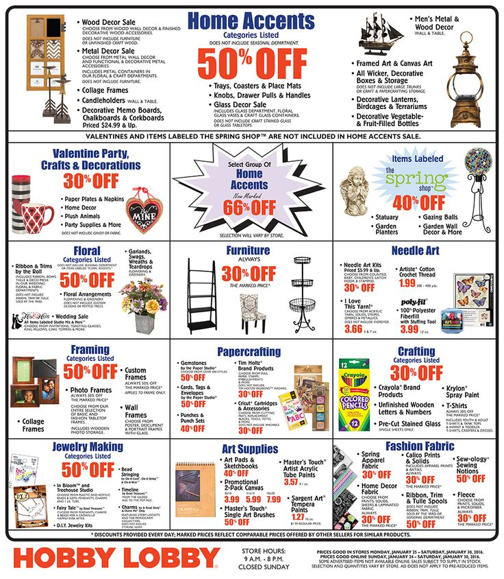 Have you been using Hobby Lobby ads? Here are Hobby Lobby ad this week 11/25/ – 12/1/ Through the Hobby Lobby Weekly Ads customers be on track of the week-by-week move of your favourite store and you will be updated with the weekly status of different products such as Home Decor & Frames, Crafts & Hobbies, Scrapbook & Paper Crafts.