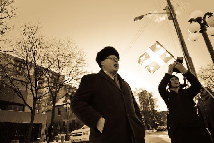 Taras Zalusky.  Executive Director, Ukrainian Canadian Congress.  Ottawa Euromaidan.  November 24, 2013.  Somerset Street.  Ottawa, Canada.