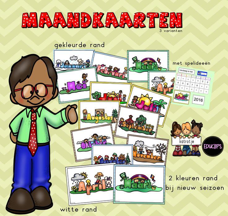 3 sets van maandkaarten te gebruiken in de kring of als verjaardagskalender...
