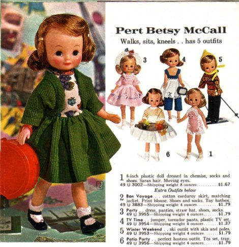 Betsy McCall dolls in different outfits from Vintage Sears 60s Toy Book.