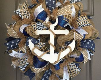 Anchor Nautical Burlap/Deco Mesh Wreath