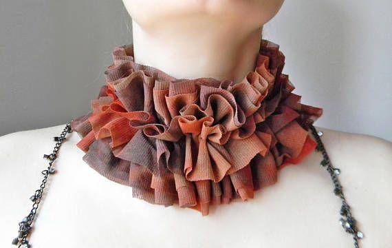 Ombre brown rusty tulle ruff collar Renaissance costume collar
