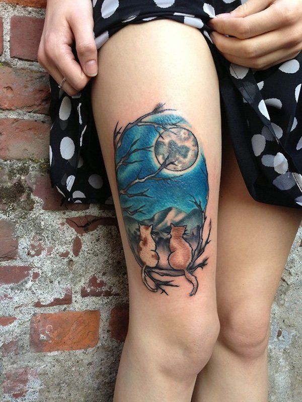Moon Cats Thigh Tattoo - 55 Examples of Cute Cat Tattoo   Art and Design