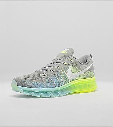 Meilleur Nike Flyknit Max Chaussures Gris et Volt et Teal France Boutique