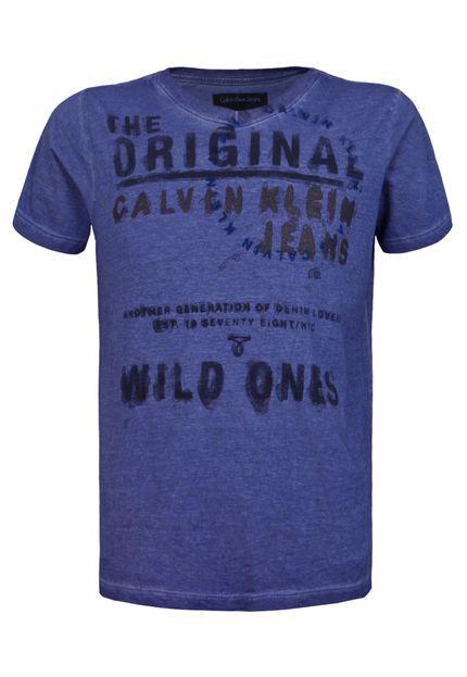Camiseta Calvin Klein Kids Original Azul - Compre Agora | Dafiti Brasil