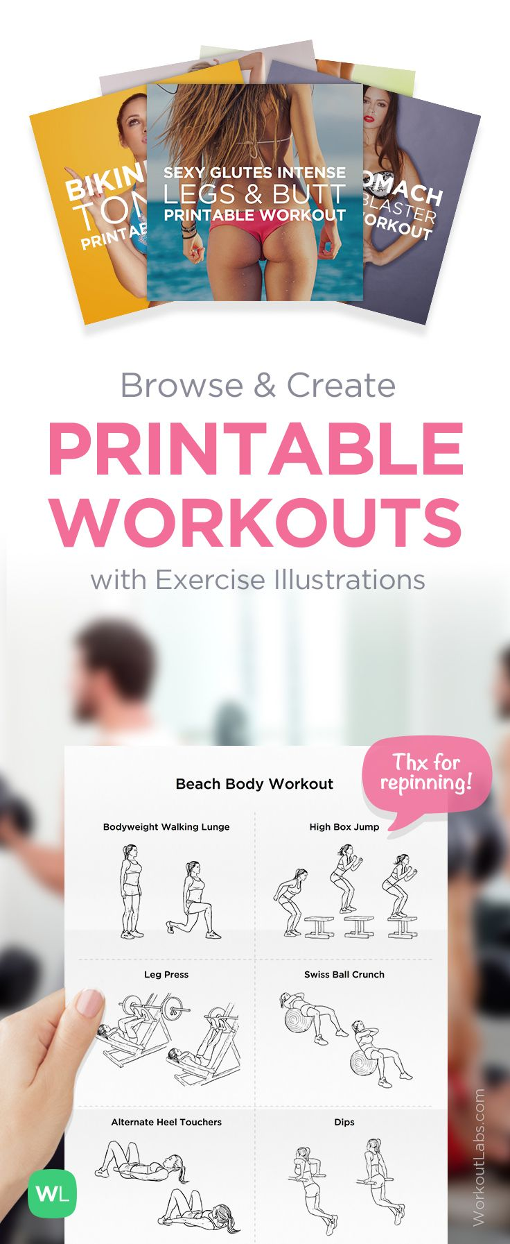 Visit http://WorkoutLabs.com/workout-plans to download printable PDF workouts with exercise illustrations, FREE