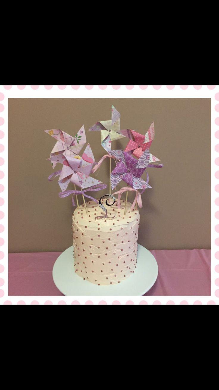 Baptism cake made for my little Miss ... Pinwheels made too through following Pinterest tutorial xxx