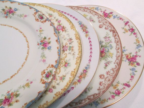 vintage mismatched china dinner plates set of 5 45 - China Dinner Plates