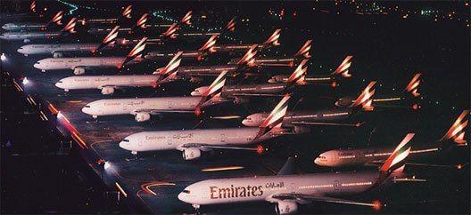 Emirates Fleet at night