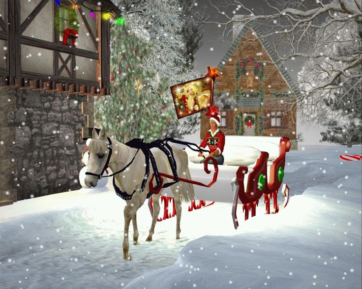 animated Christmas Sleigh rides | ... : Merry Christmas! Animated Scenes For Christmas Day in Second Life
