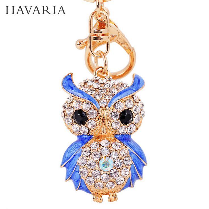 HAVARIA Luxury gifts A grade rhinestone Owl keychains women Sexy key holder chain ring car Jewelry bag pendant mty-014