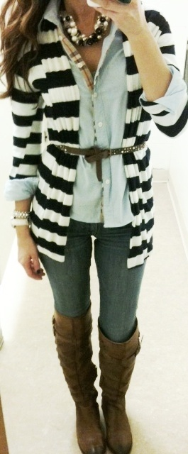 Cute: Stripes Cardigans, Style, Buttons Up, Fall Wint, Cute Outfits, Stripes Sweaters, Fall Outfits, Brown Boots, Belts