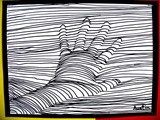 """We drew the outline of a hand, very lightly in pencil, and then began drawing lines freehand across the paper. When part of the hand was in the way of the straight line, each artist had to ""crawl over"" their finger or hand with curves and arcs. The optical illusion became very obvious if the lines were close together and the curves fairly strong."