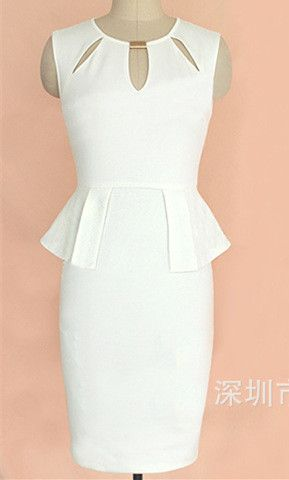 Plus Size White Sleeveless Cut Out Neck Peplum Dress
