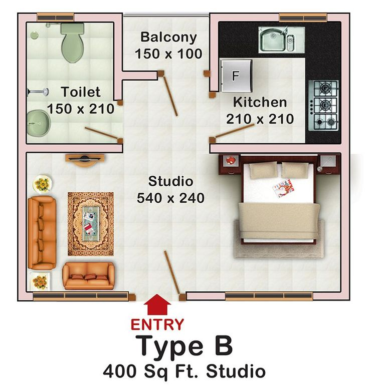Decorating a studio apartment 400 square feet 400 sq ft for Studio apartment blueprints