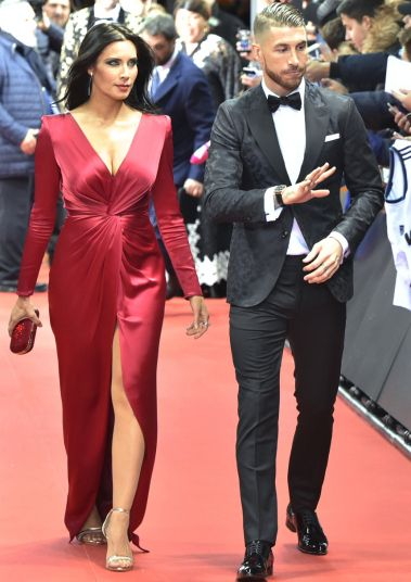 Spain and Real Madrid defender Sergio Ramos and Pilar Rubio arrive