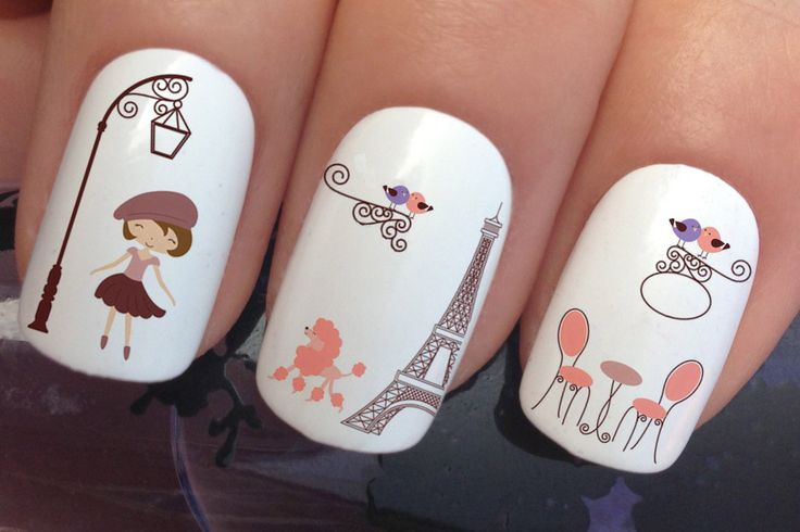 nail art set #655 x12 Eiffel tower french lady street lamp pink chairs table cute birds water transfer decals stickers manicure set by Nailiciousuk on Etsy