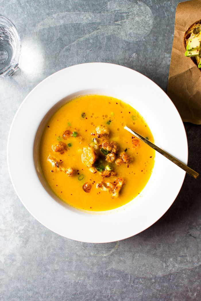 Roasted Cauliflower, Leek & Carrot Soup