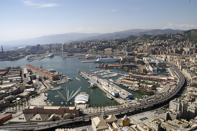 Aerial view of the Port of Genoa