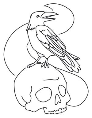 painted skull and raven design uth6597 from urbanthreadscom halloween embroideryembroidery patternspainted - Halloween Hand Embroidery Patterns