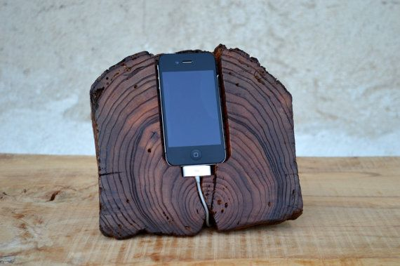 Wooden iPhone Docking Station Rustic iPhone Stand Ancient Wood iPhone Charging Station Eco-friendly on Etsy, $125.21