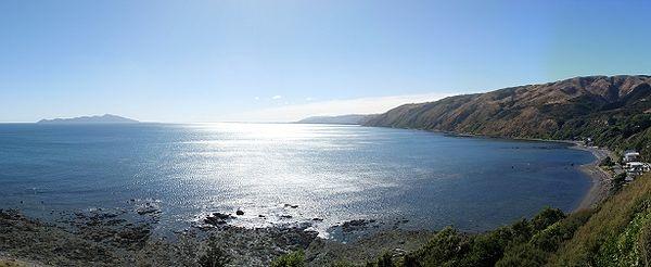 Kapiti Island and Kapiti Coast from Pukerua Bay Beach, Porirua, NZ