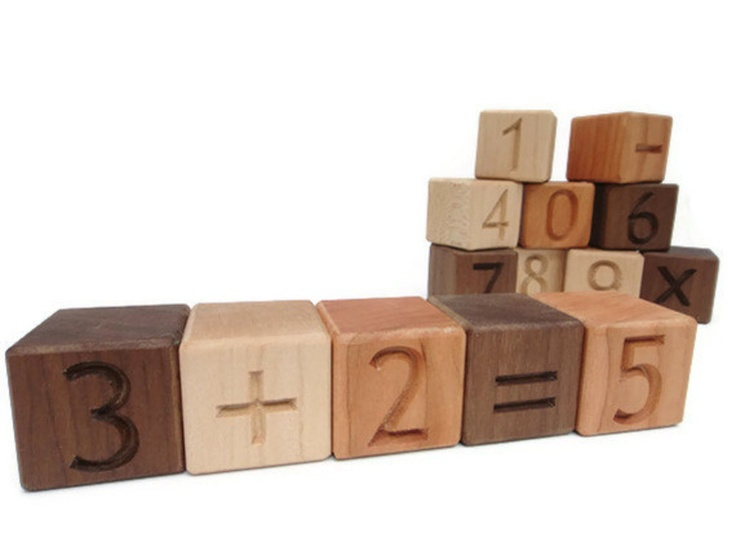 Learn Math Building Blocks - Organic Toy Building Blocks with numbers and symbols