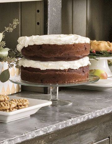 Cocoa Cake, topped with a cloudlike layer of sweetened whipped cream. #dessert
